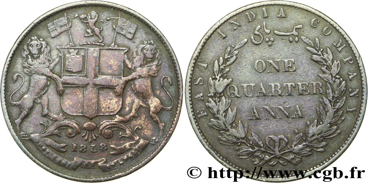 INDES BRITANNIQUES 1/4 Anna East India Company 1858 Bombay TB+