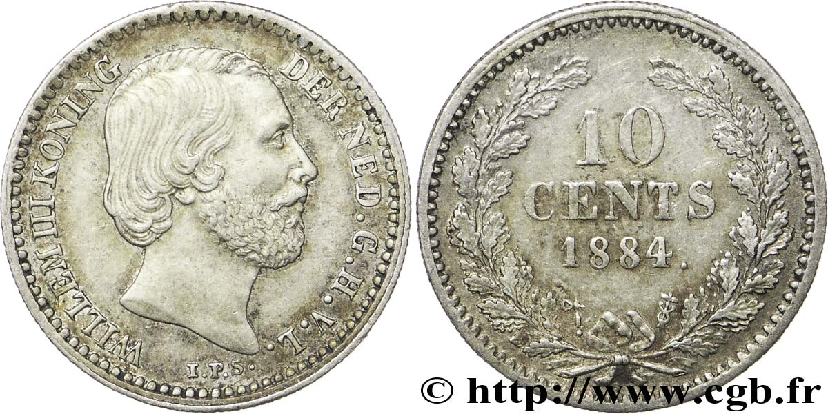PAYS-BAS 10 Cents Guillaume III 1884 Utrecht SUP