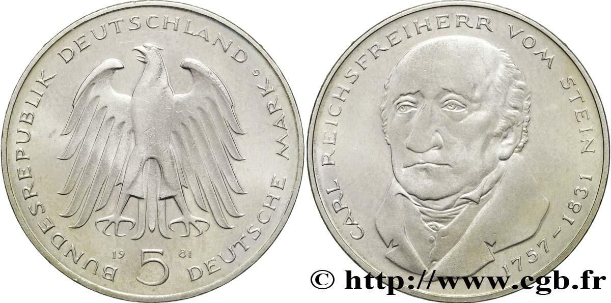 GERMANY 5 Mark aigle héraldique / le baron Heinrich Friedrich Karl vom und zum Stein 1981 Karlsruhe - G