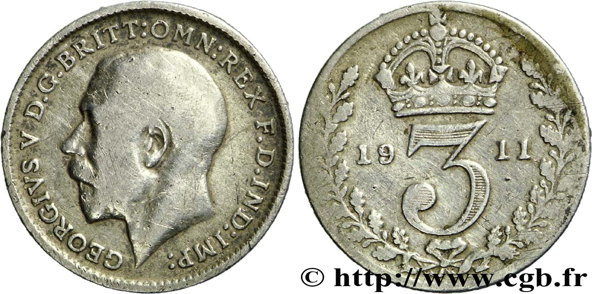 ROYAUME-UNI 3 Pence Georges V / couronne 1911  TB