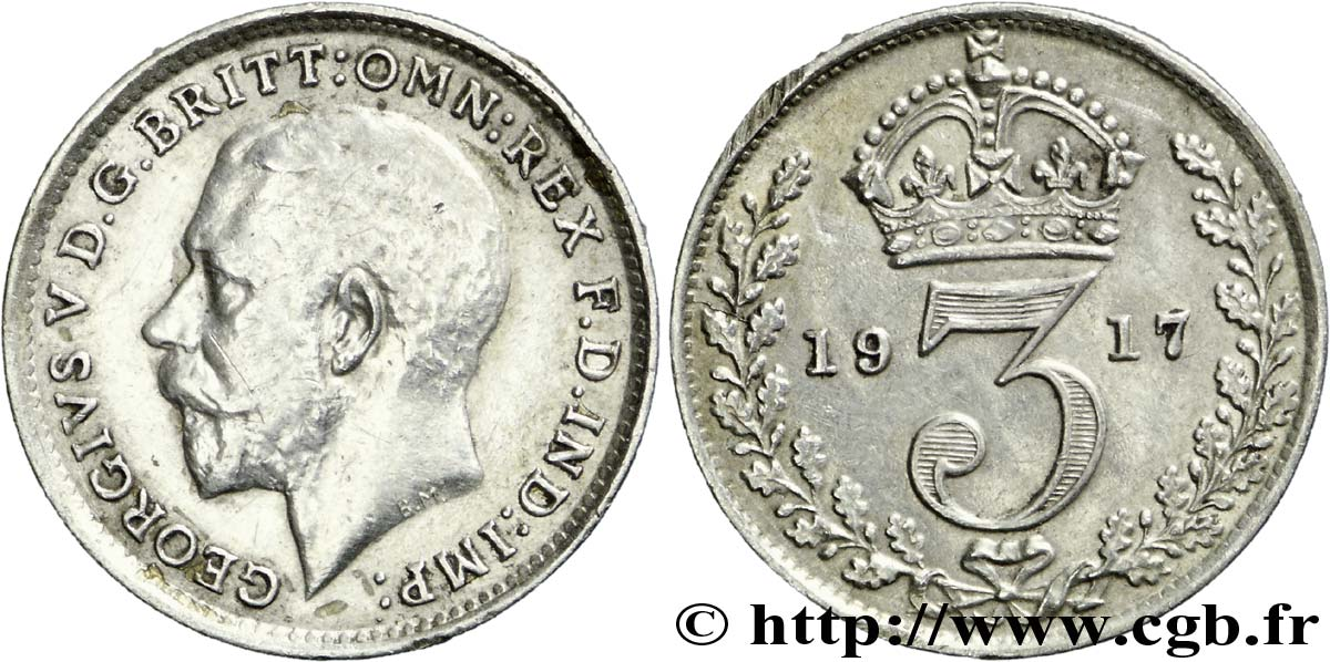ROYAUME-UNI 3 Pence Georges V / couronne 1917  SUP