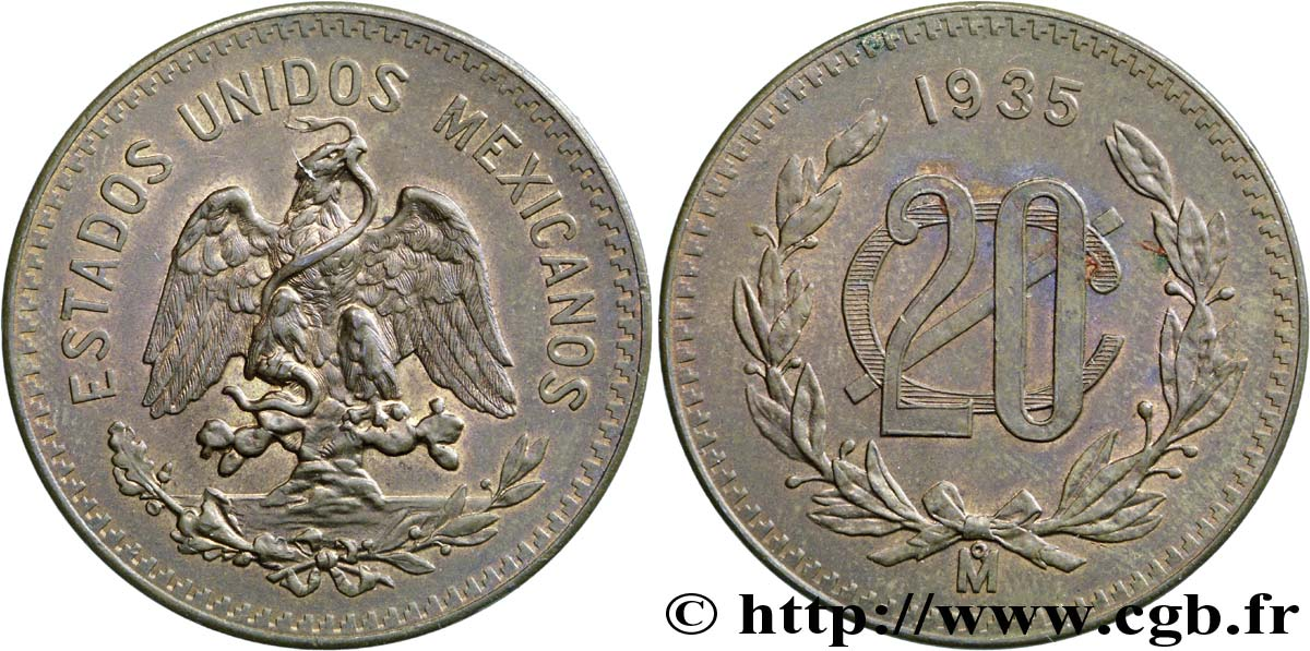 MEXIQUE 20 Centavos Aigle 1935 Mexico SUP