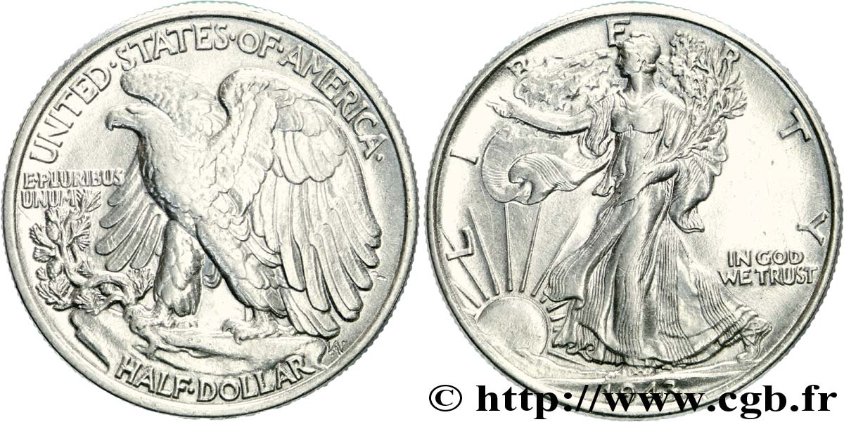 ÉTATS-UNIS D AMÉRIQUE 1/2 Dollar Walking Liberty 1943 Philadelphie SUP