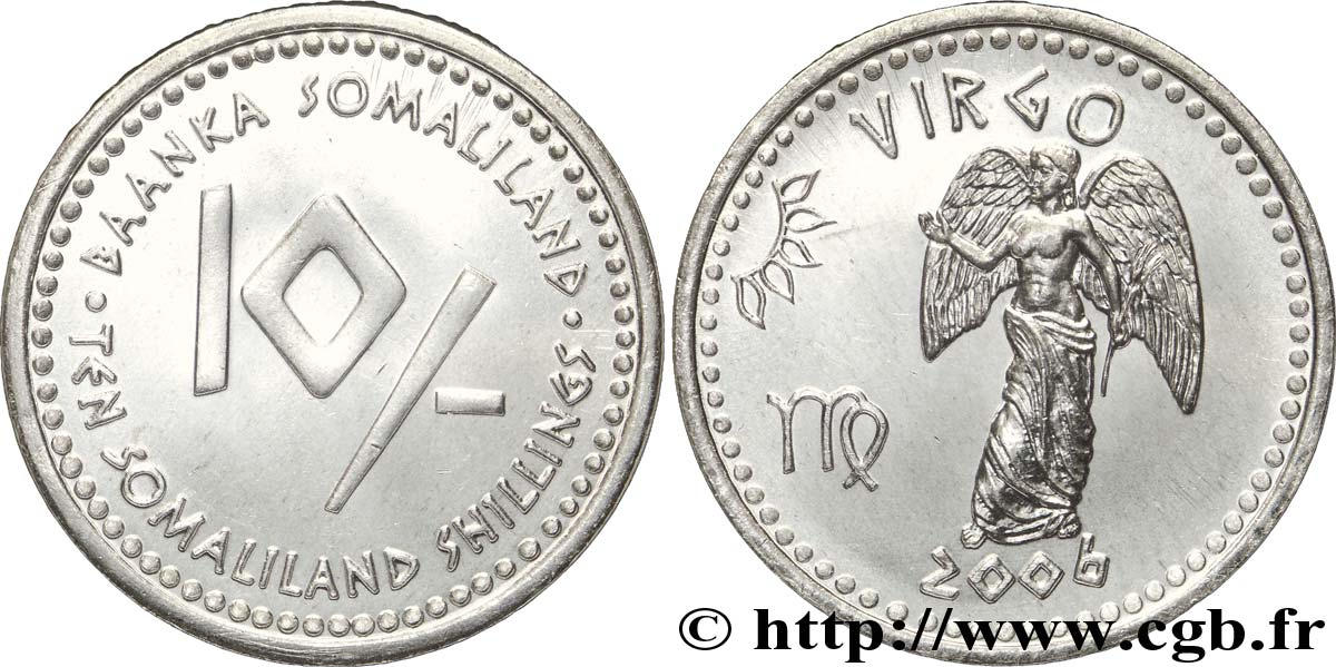 SOMALILAND 10 Shillings série Horoscope : vierge 2006  SPL