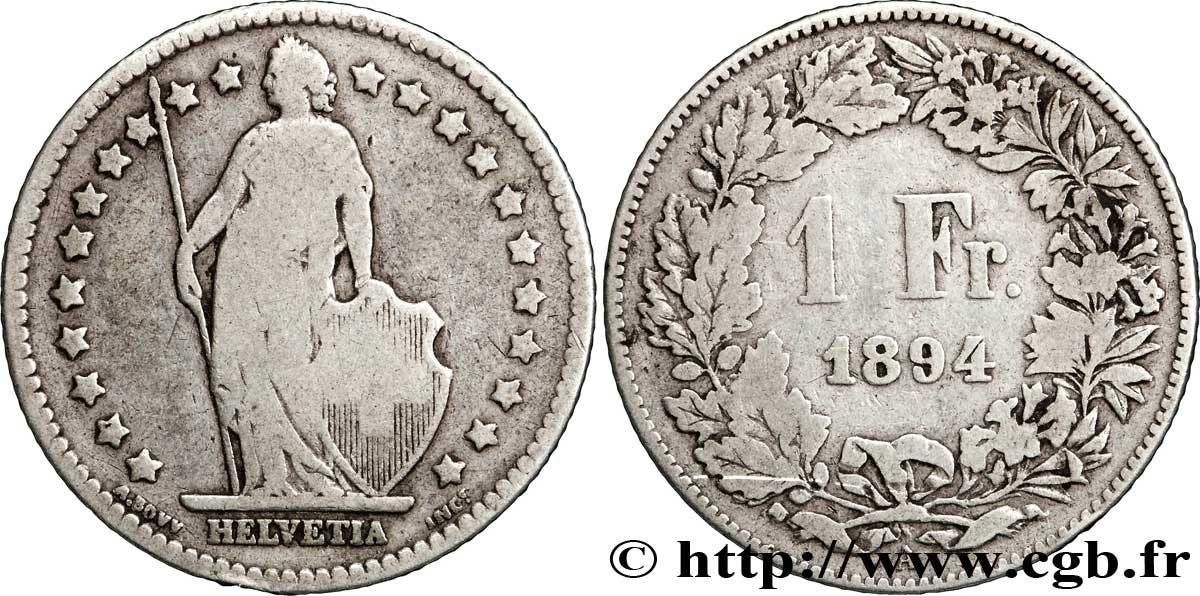 suisse 1 franc helvetia 1894 paris a fwo 183301 monde. Black Bedroom Furniture Sets. Home Design Ideas
