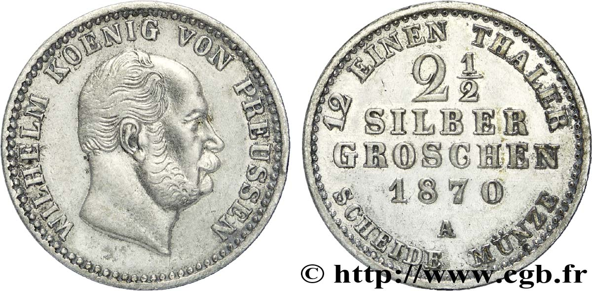 ALLEMAGNE - PRUSSE 2 1/2 Silbergroschen Royaume de Prusse Guillaume Ier 1870 Berlin SUP