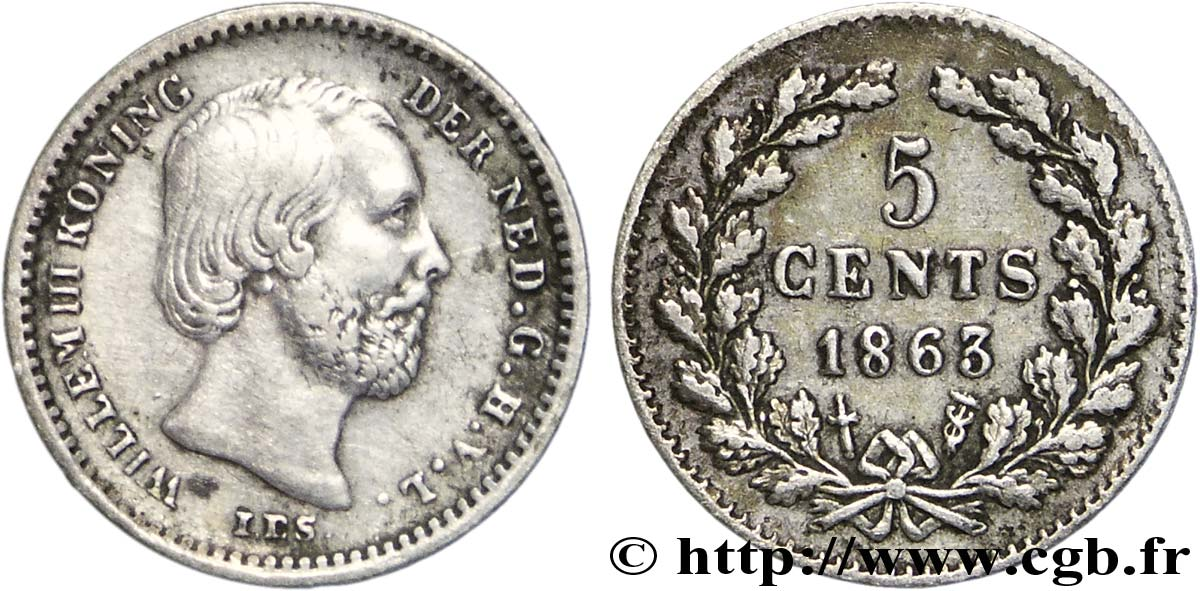 PAYS-BAS 5 Cents William III 1863 Utrecht SUP