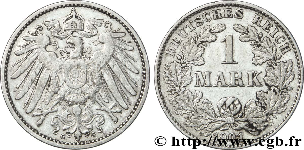 ALLEMAGNE 1 Mark Empire aigle impérial 2e type 1901 Karlsruhe - G TTB