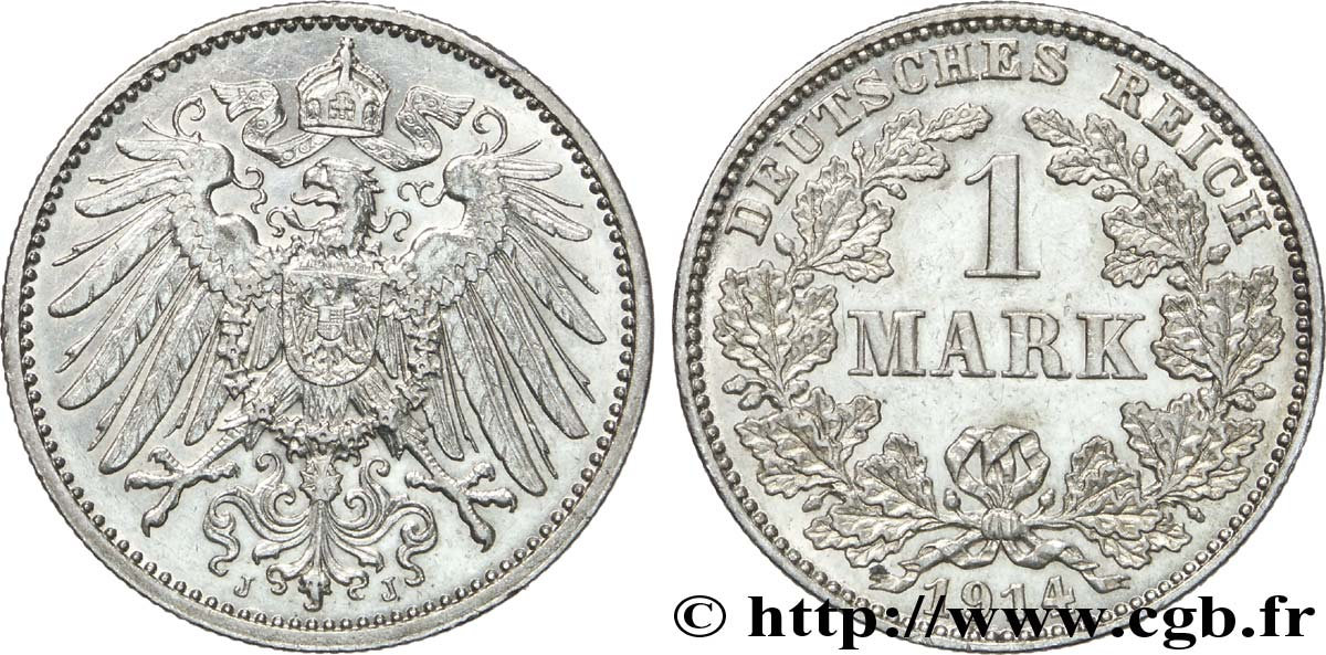 ALLEMAGNE 1 Mark Empire aigle impérial 2e type 1914 Hambourg - J SUP