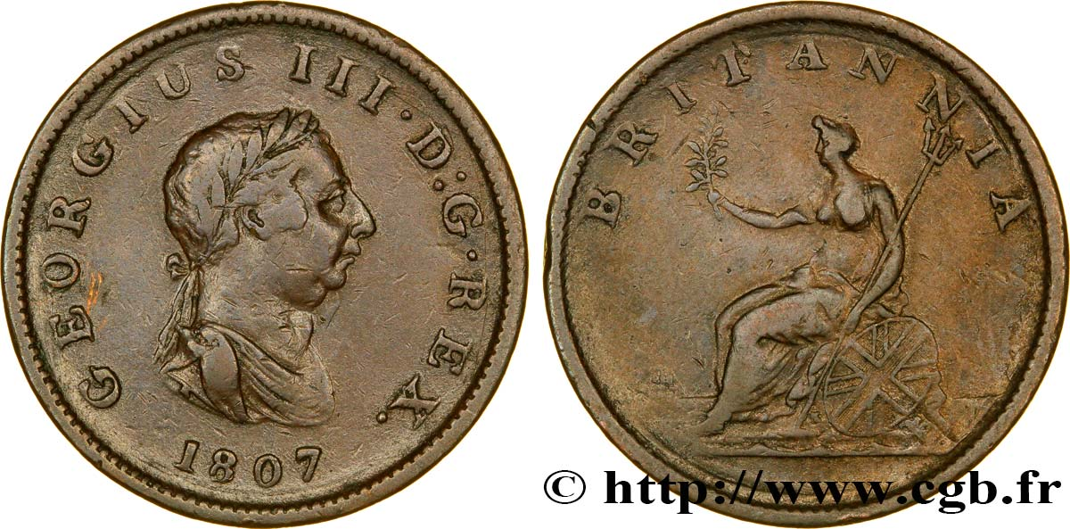 ROYAUME-UNI 1/2 Penny Georges III tête laurée 1807  TB