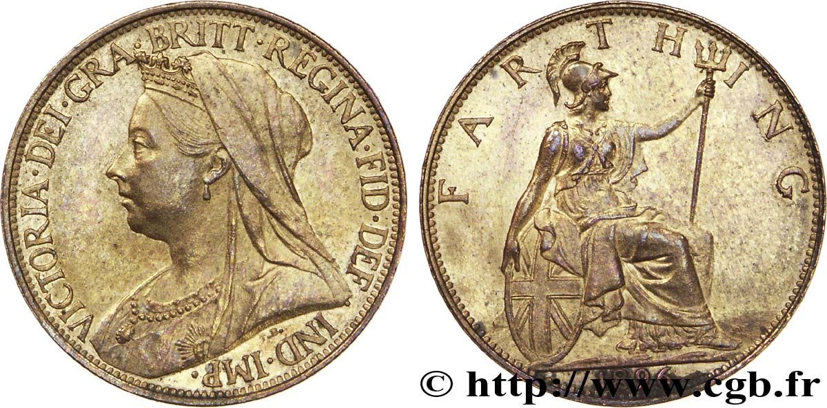 "ROYAUME-UNI 1 Farthing Victoria type ""Old Head"" / Britannia, finition sombre 1896  SUP"