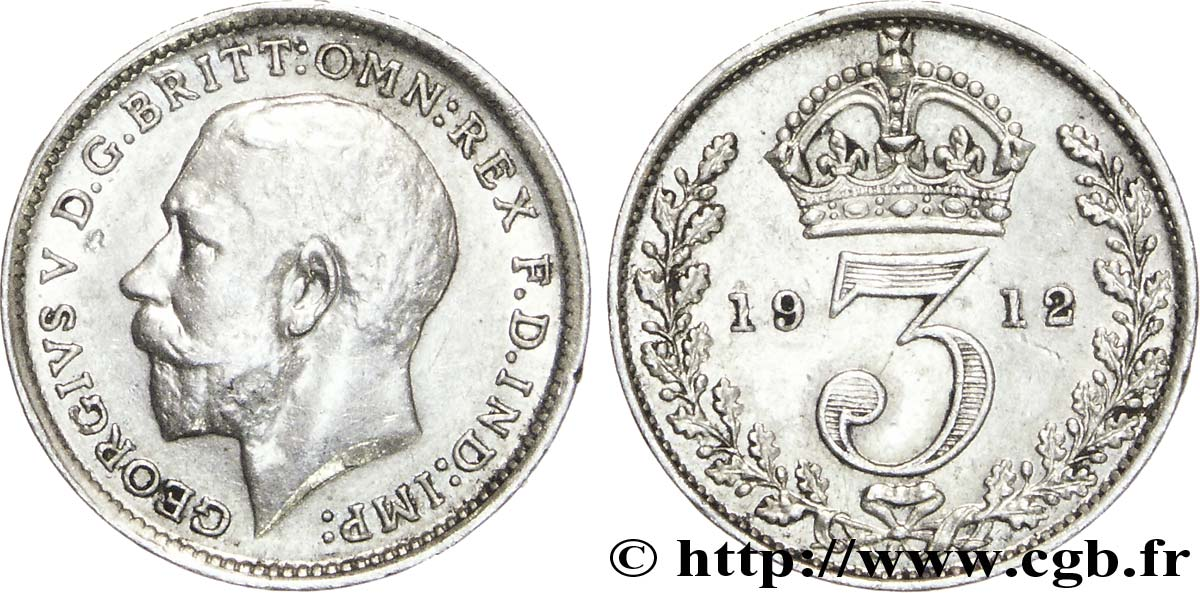 ROYAUME-UNI 3 Pence Georges V / couronne 1912  SUP