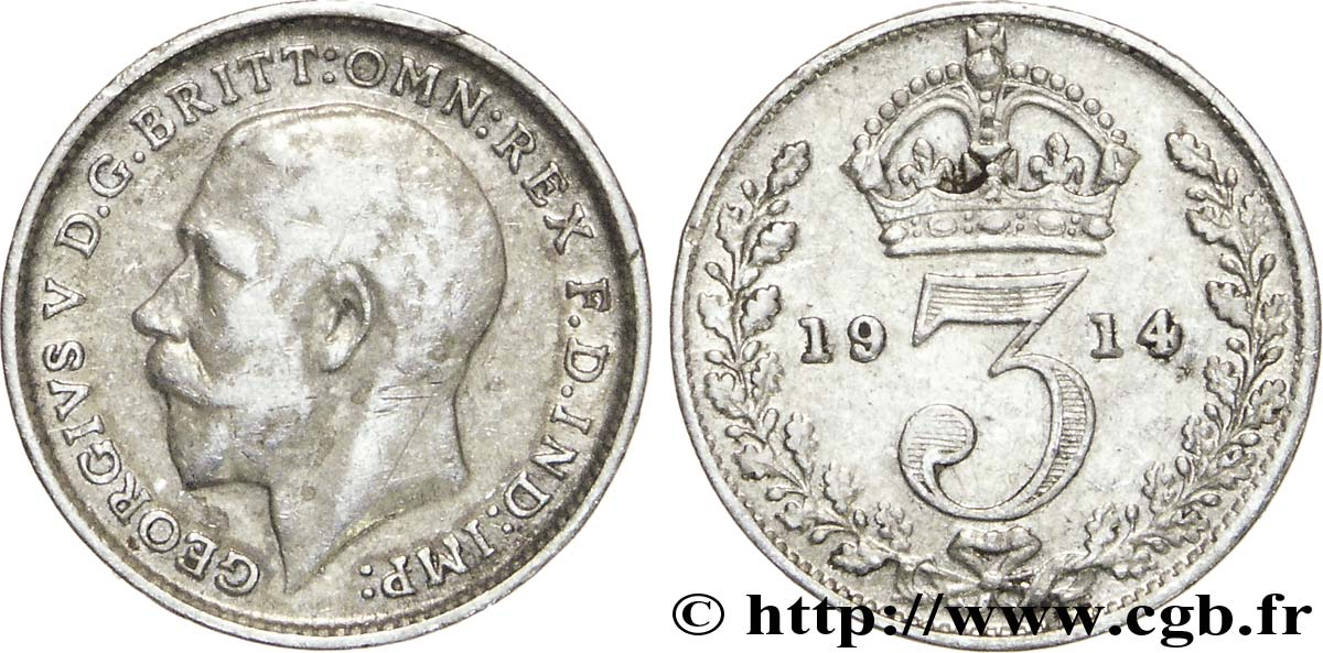 ROYAUME-UNI 3 Pence Georges V / couronne 1914  TB+