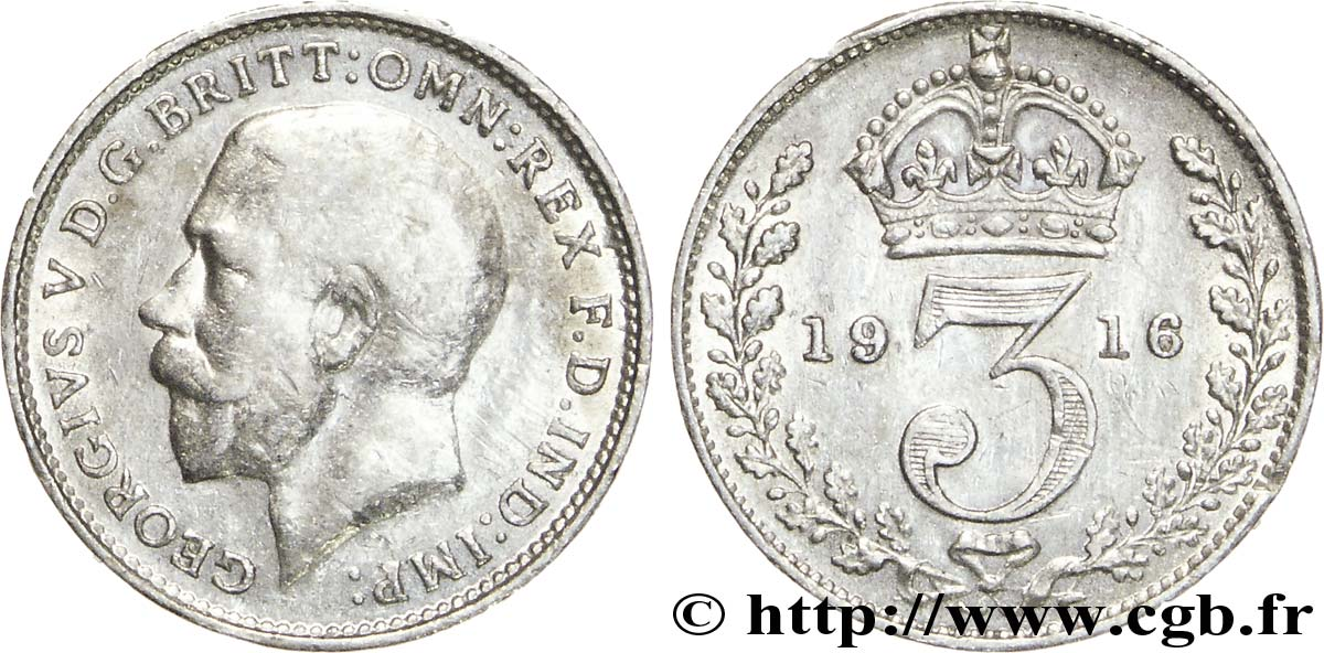 ROYAUME-UNI 3 Pence Georges V / couronne 1916  TTB