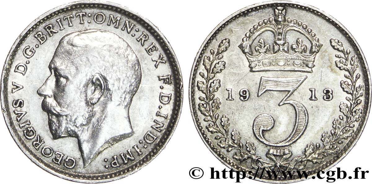 ROYAUME-UNI 3 Pence Georges V / couronne 1913  SUP