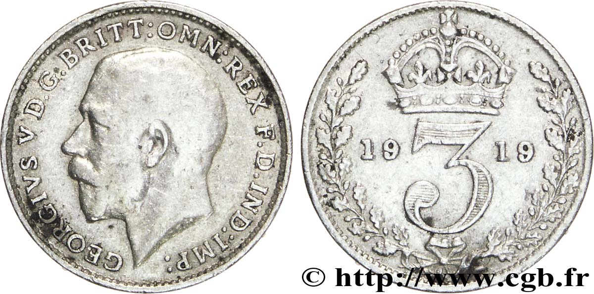 ROYAUME-UNI 3 Pence Georges V / couronne 1919  TB