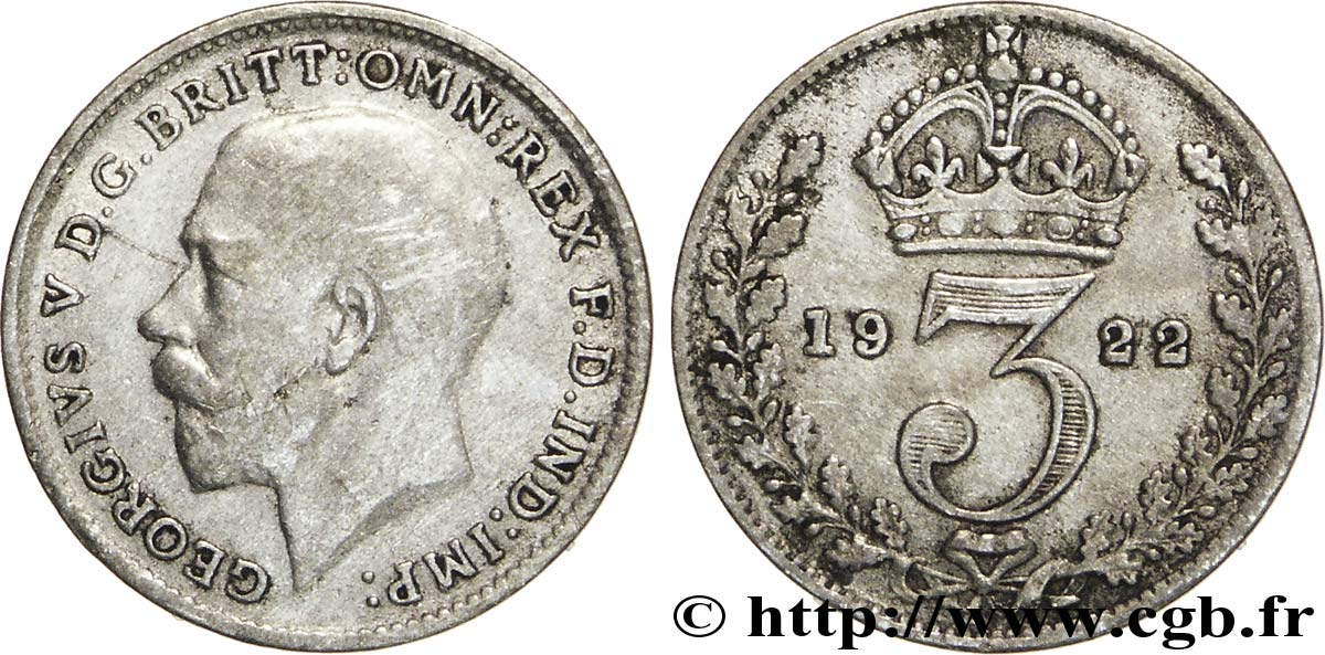ROYAUME-UNI 3 Pence Georges V / couronne 1922  TB+