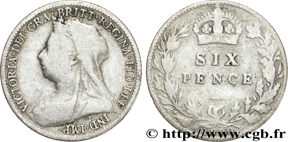 "ROYAUME-UNI 6 Pence Victoria ""Old Head"" 1900 Londres TB"