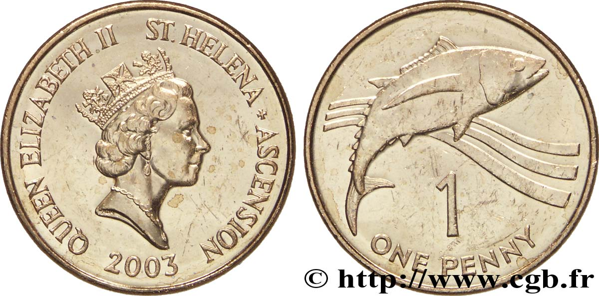 SAINTE HÉLÈNE ET ASCENSION 1 Pence Elisabeth II / thon 2003  SUP