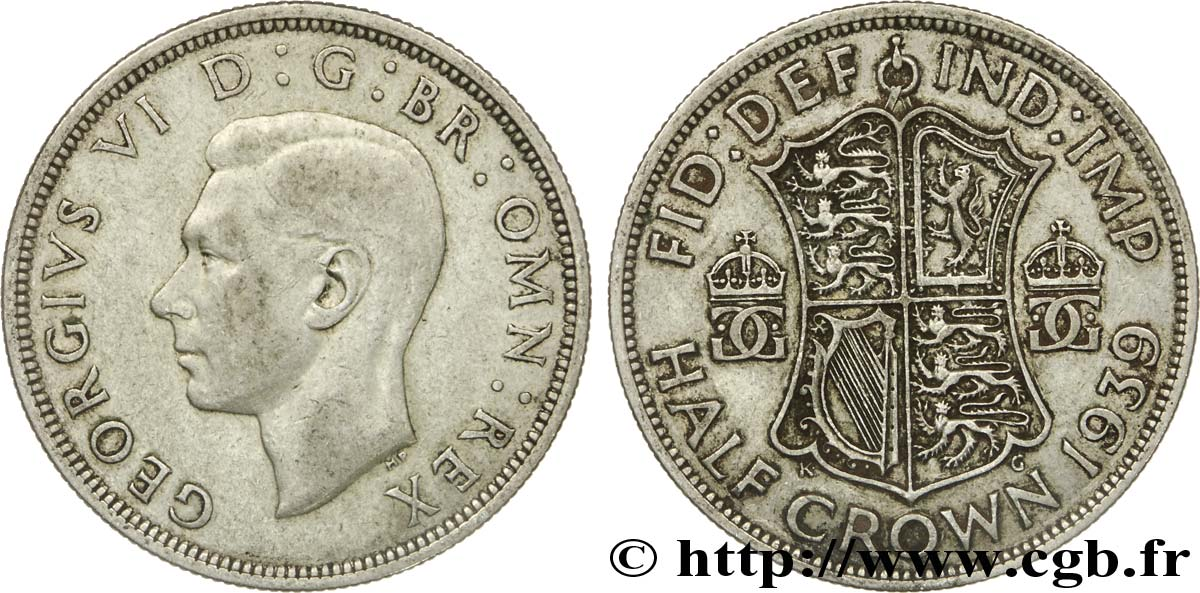 ROYAUME-UNI 1/2 Crown Georges VI / écu 1939  TTB