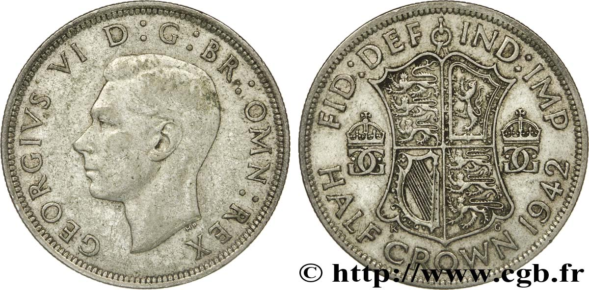 ROYAUME-UNI 1/2 Crown Georges VI / écu 1942  TB+