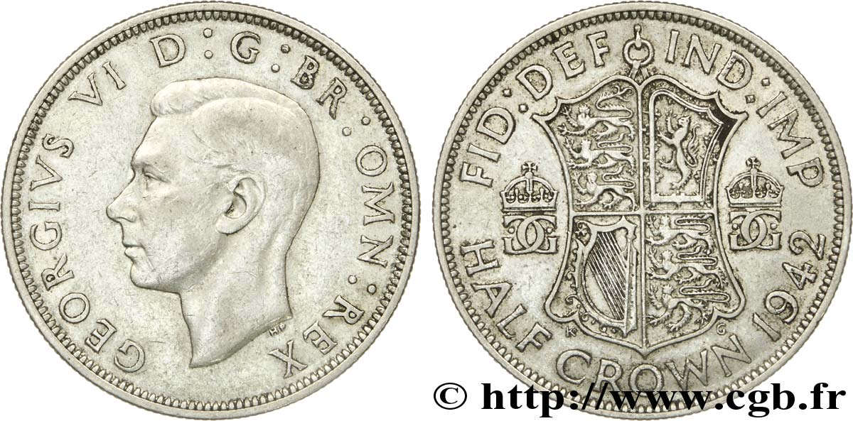 ROYAUME-UNI 1/2 Crown Georges VI / écu 1942  TTB