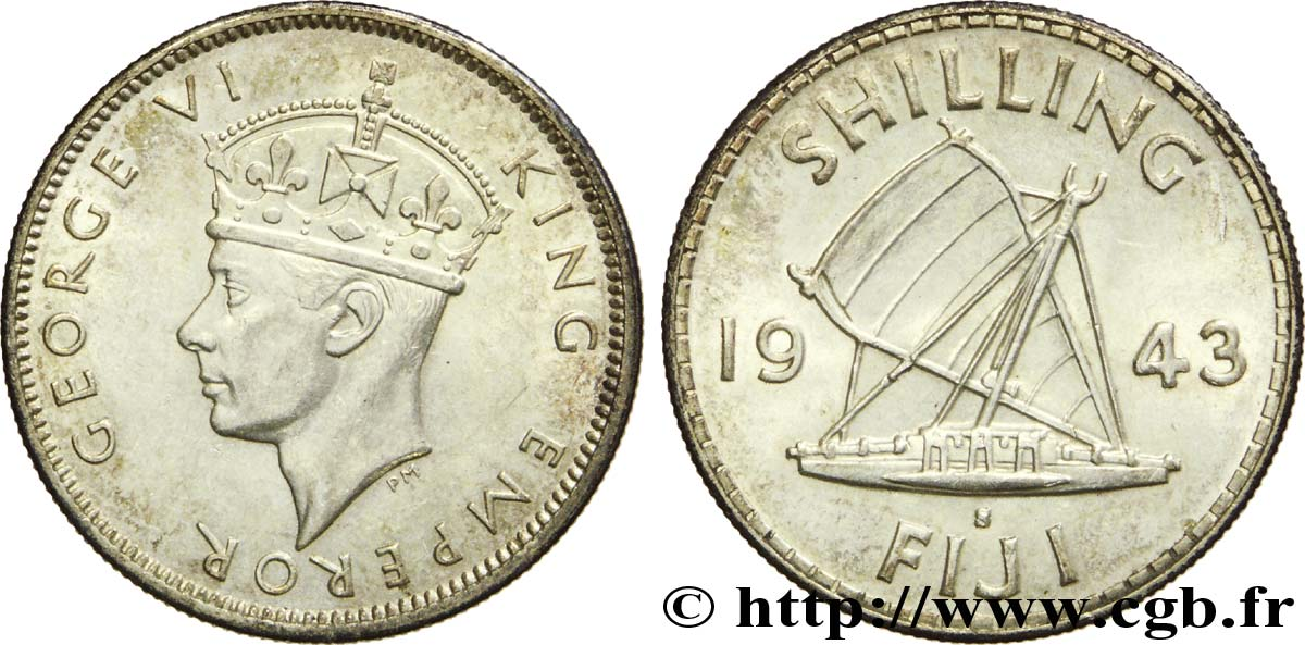 FIDJI 1 Shilling Georges  VI / voilier traditionnel 1943 San Francisco - S SUP