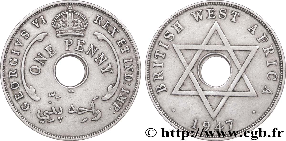 AFRIQUE OCCIDENTALE BRITANNIQUE 1 Penny Georges VI 1947 Pretoria - SA TTB+