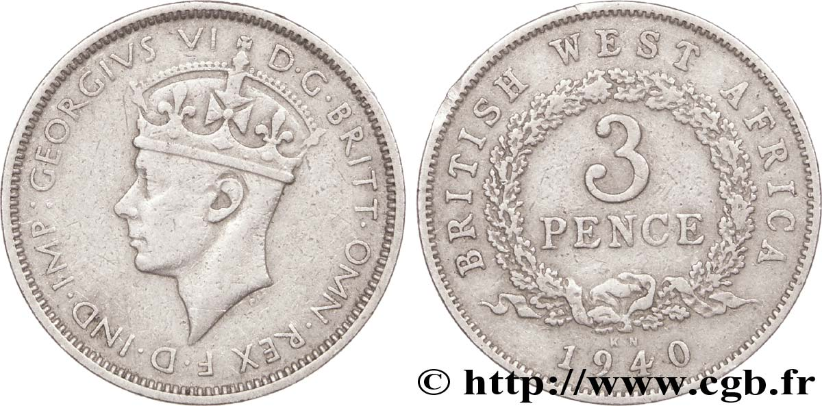 AFRIQUE OCCIDENTALE BRITANNIQUE 3 Pence Georges VI 1940 Kings Norton - KN TTB