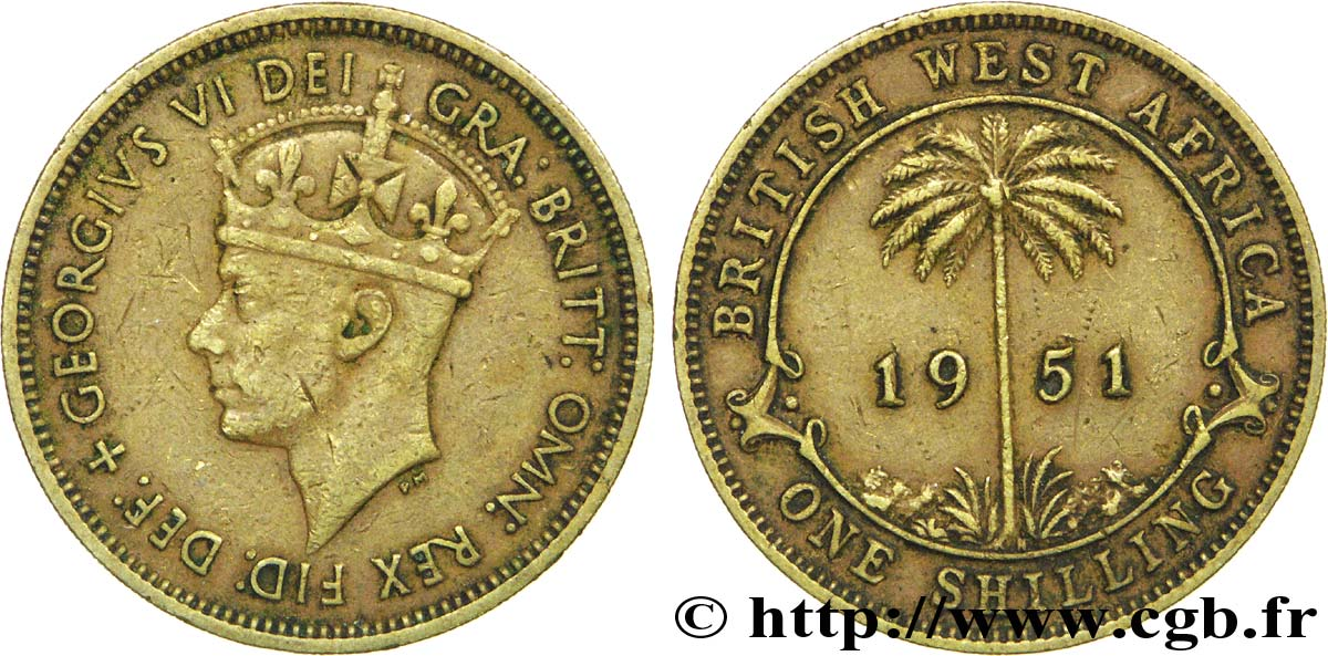 AFRIQUE OCCIDENTALE BRITANNIQUE 1 Shilling Georges VI / palmier 1951 Heaton - H TB+