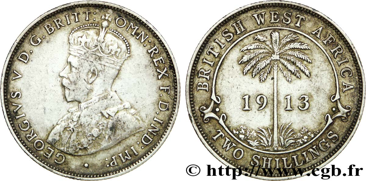 AFRIQUE OCCIDENTALE BRITANNIQUE 2 Shillings Georges V / palmier 1913 Heaton - H TB+