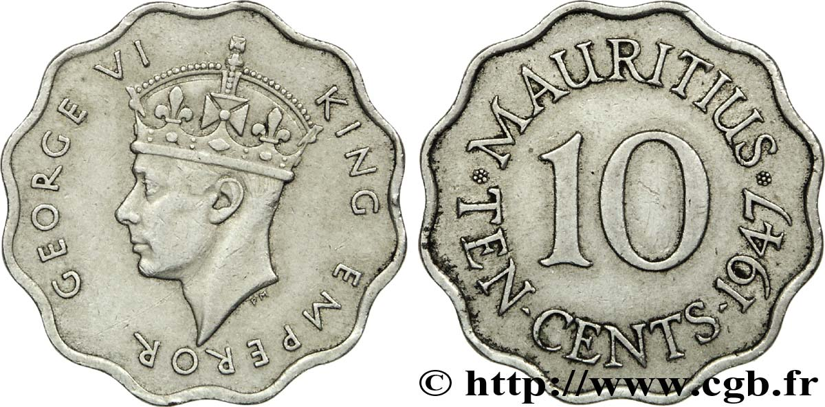 ÎLE MAURICE 10 Cents Georges VI 1947  SUP