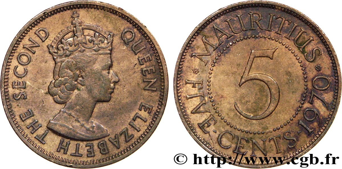 ÎLE MAURICE 5 Cents Georges VI 1970  SUP
