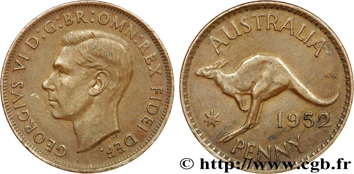 AUSTRALIE 1 Penny Georges VI / grand kangourou 1952 Melbourne SUP