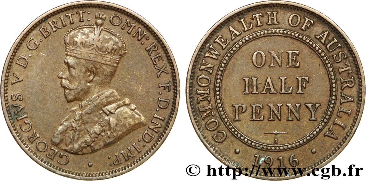AUSTRALIE 1/2 Penny Georges V 1916 Calcutta TTB+