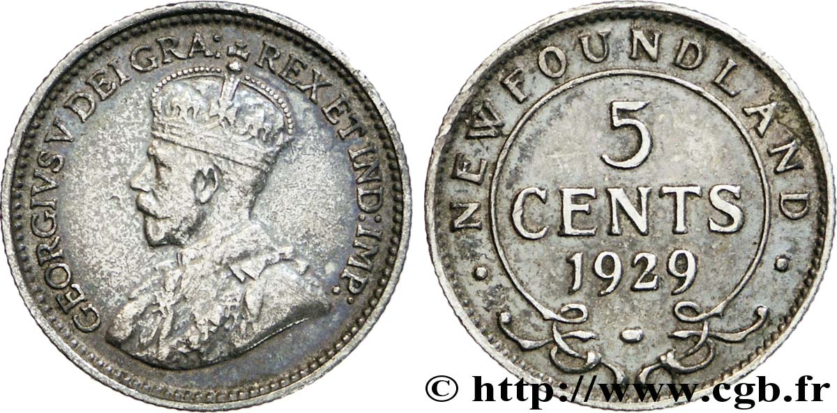 TERRE-NEUVE 5 Cents Georges V 1929  SUP