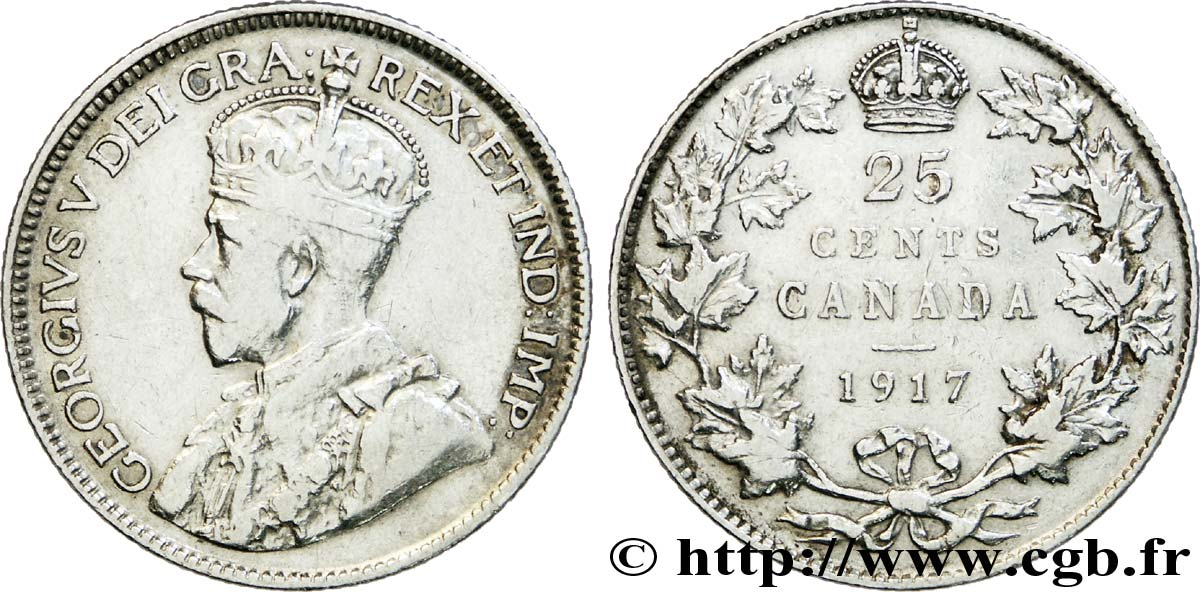 CANADA 25 Cents Georges V 1917  TB+
