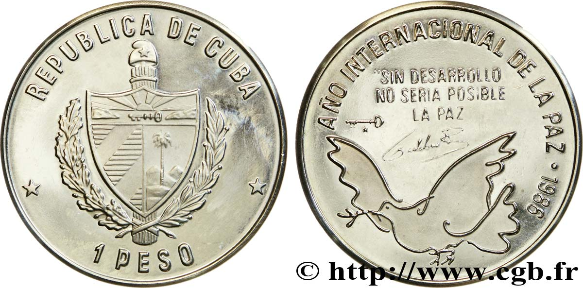 CUBA 1 Peso BE (proof) armes / année internationale de la paix 1986  SPL