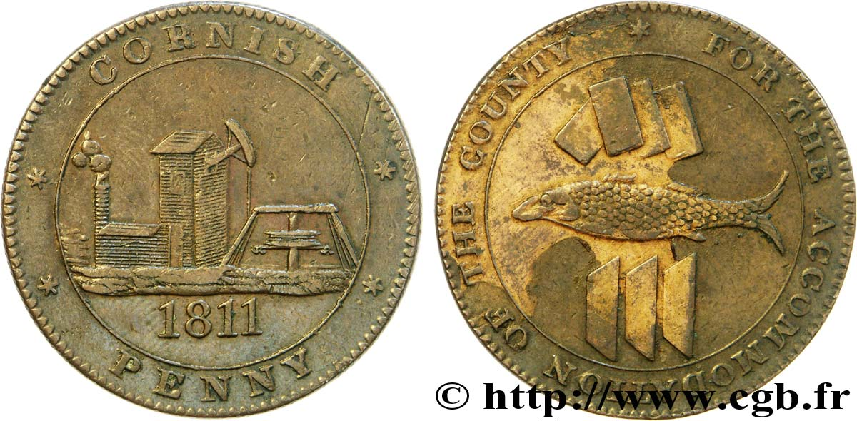"ROYAUME-UNI (TOKENS) 1 Penny ""Cornish Penny"" Scorrier House (Redruth), pompe, poisson et lingots d'étain, mine 1811  TTB+"