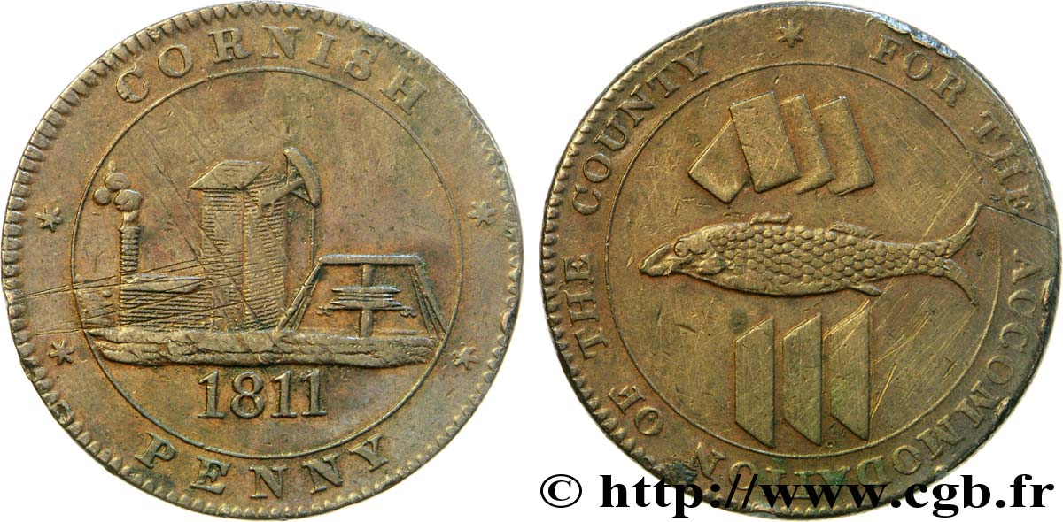 "ROYAUME-UNI (TOKENS) 1 Penny ""Cornish Penny"" Scorrier House (Redruth), pompe, poisson et lingots d'étain, mine 1811  TTB"
