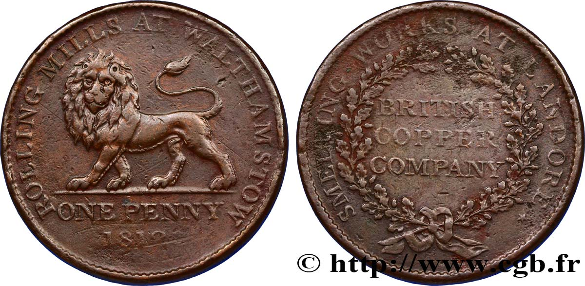 ROYAUME-UNI (TOKENS) 1 Penny British Copper Company - laminoirs de Walthamston (Essex), Lion passant 1813  TTB