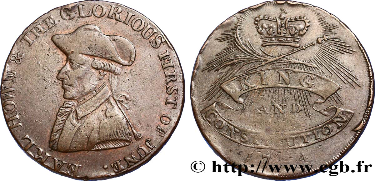"ROYAUME-UNI (TOKENS) 1/2 Penny Emsworth (Hampshire) comte Howe / couronne, ""payable in Hull and in London"" sur la tranche 1794  TB"