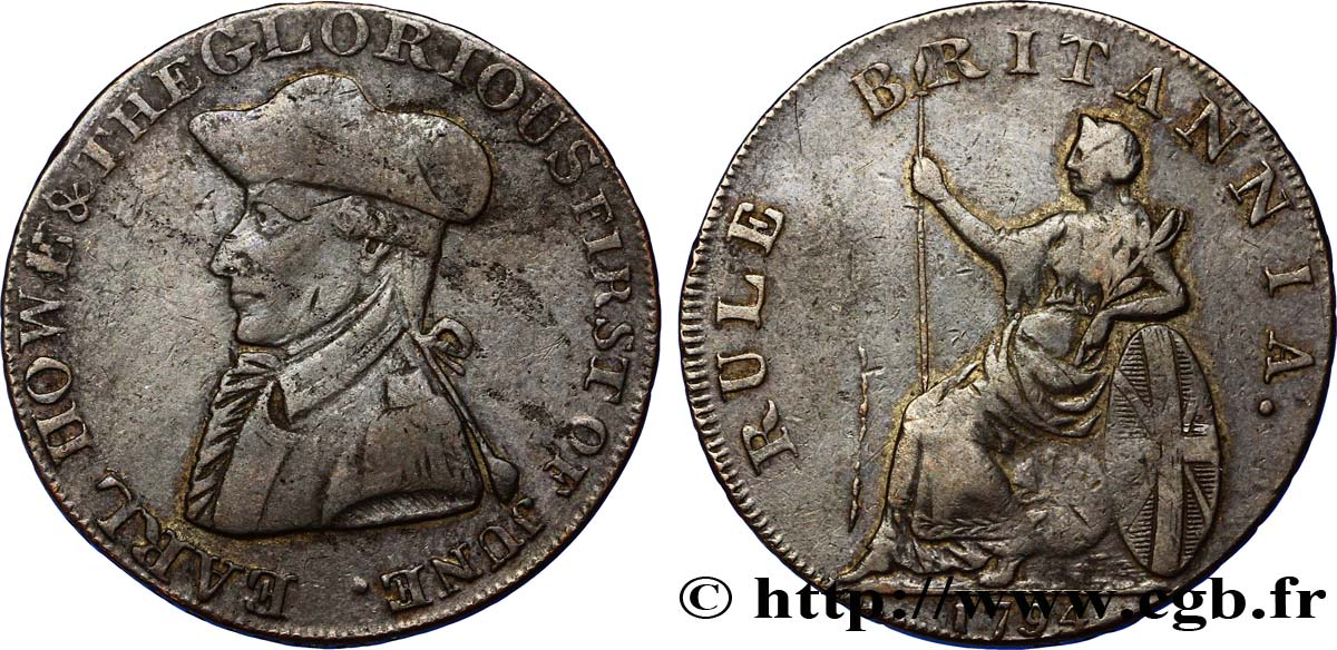 "ROYAUME-UNI (TOKENS) 1/2 Penny Emsworth (Hampshire) comte Howe / Britannia assise, ""payable at London Liverpool or Bristol"" sur la tranche 1794  TB+"
