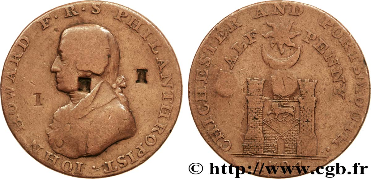 "ROYAUME-UNI (TOKENS) 1/2 Penny Porthmouth (Hampshire) John Howard, ""payable at Sharps Portsmouth and Chaldecotts Chichester"" sur la tranche 1794  B"