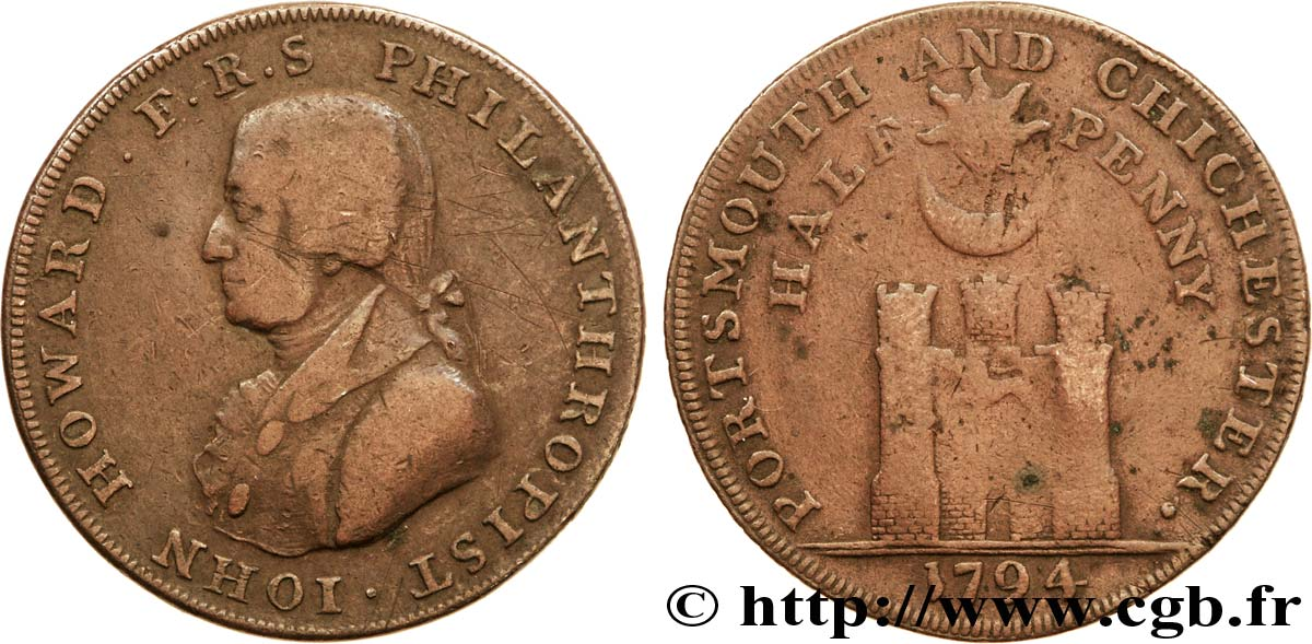 "ROYAUME-UNI (TOKENS) 1/2 Penny Porthmouth (Hampshire) John Howard, ""payable at Sharps Portsmouth and Chaldecotts Chichester"" sur la tranche 1794  TB"
