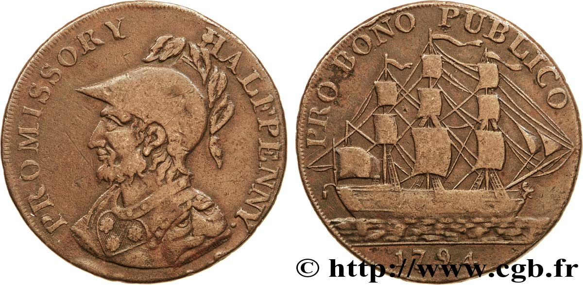 "ROYAUME-UNI (TOKENS) 1/2 Penny Gosport (Hampshire) Sir Bevis / voilier, ""payable at I. Iordans draper Gosport"" sur la tranche 1794  TB+"