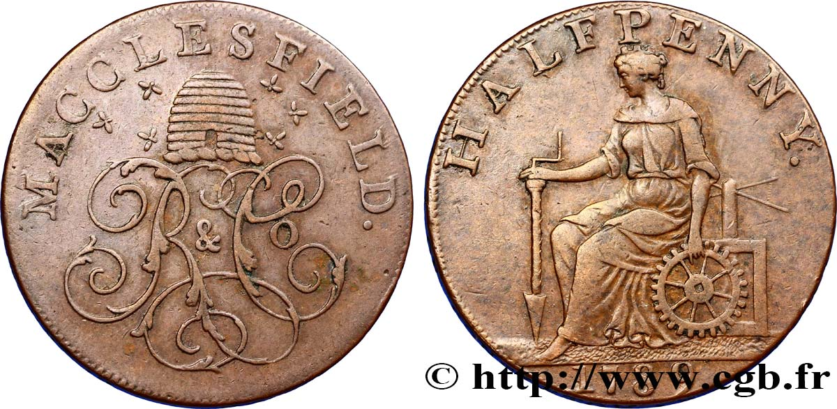 "ROYAUME-UNI (TOKENS) 1/2 Penny Macclesfield (Cheshire) ruche et initiales ""R & C°"" / femme avec outils, ""payable at Macclesfield Liverpool & Congleton 1789  TTB"