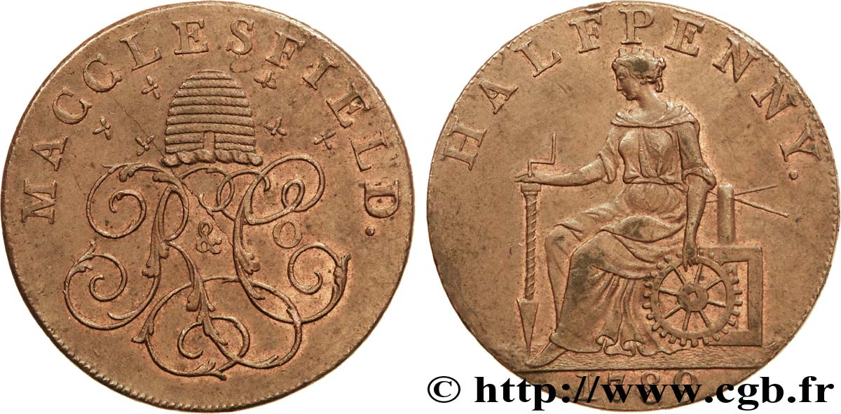 "ROYAUME-UNI (TOKENS) 1/2 Penny Macclesfield (Cheshire) ruche et initiales ""R & C°"" / femme avec outils, ""payable at Macclesfield Liverpool & Congleton 1789  TTB+"