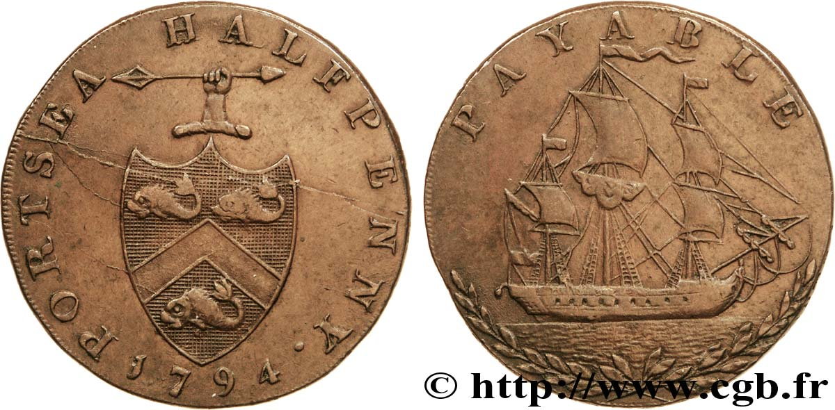 "ROYAUME-UNI (TOKENS) 1/2 Penny Portsea (Hampshire)  armes avec javelot / voilier, ""payable at george Edward Sargeants Portsea"" sur la tranche 1794  SUP"