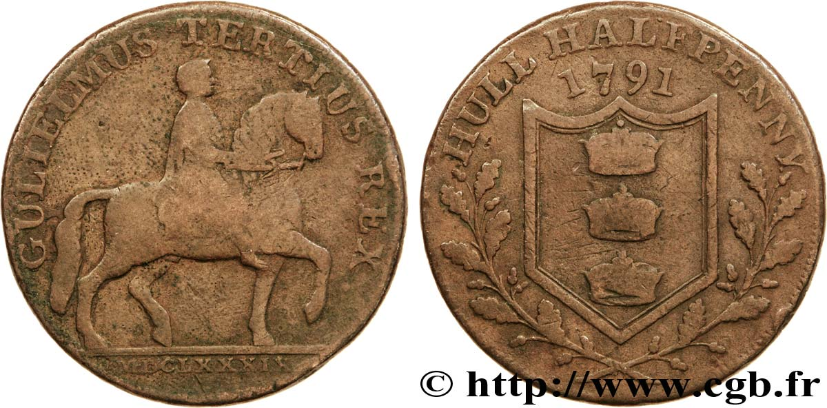 "ROYAUME-UNI (TOKENS) 1/2 Penny Hull (Yorkshire) Guillaume III à cheval / écu de Hull, ""Payable at the warehouse of Ionathan Garton"" sur la tranche 1791  TB"